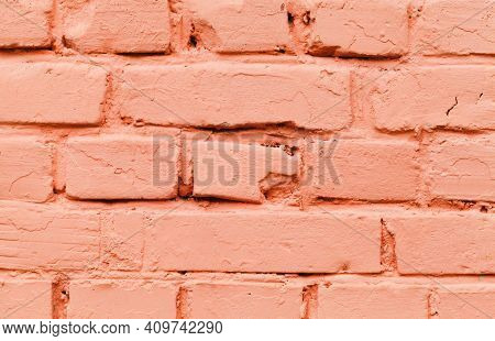 Old Red Brick Wall, Close-up Background Photo Texture