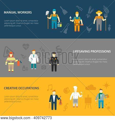 Profession Cartoon Male Characters Horizontal Banners Set Of Manual Creative And Lifesaving Occupati