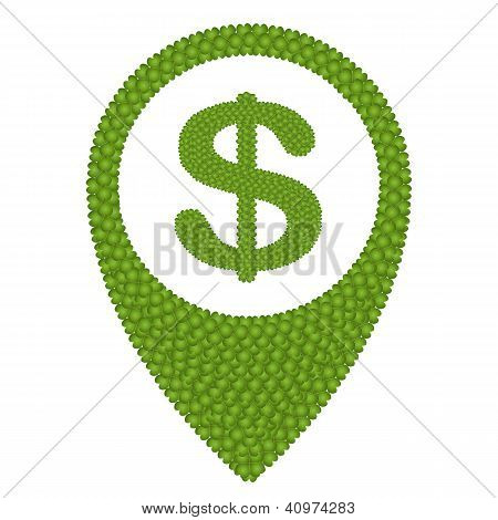 Four Leaf Clover Of Dollar Sign And Navication Icon