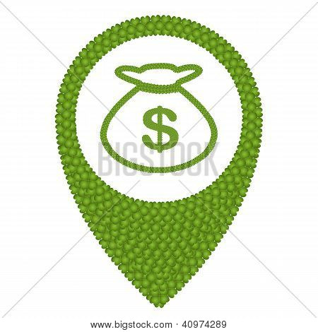 Four Leaf Clover Of Money Bag And Navication Icon