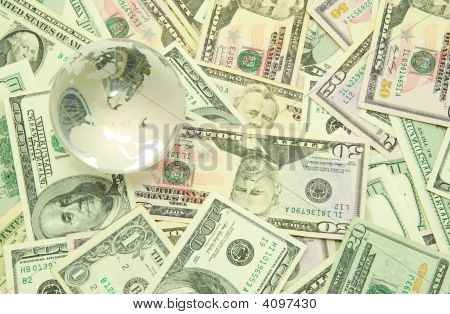globe isolated on a dollars background l poster