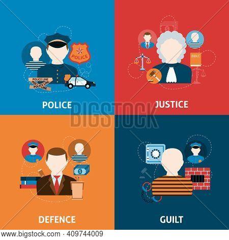 Corruption Crime Punishment And Legal Civil Law Defense Justice Officer Four Flat Icons Composition