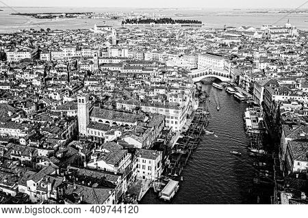 Venice, Rialto Bridge and Grand canal from the sky in Black and white picture