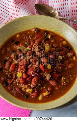 Beef Chili Con Carne Dinner With Fun Pink Decorative Napkins