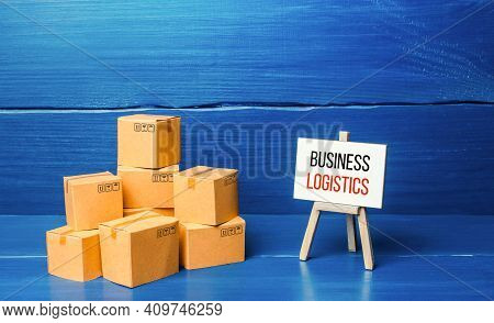 Boxes And Easel With Business Logistics. Supply Chain Management And Efficiency Logistics. Engaging