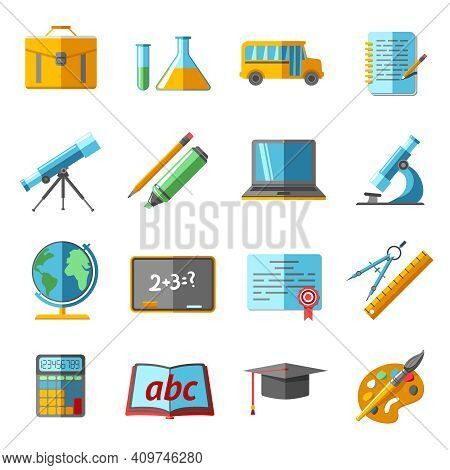 School College Education Flat Pictograms Collection With Globe Chemistry Retort Schoolbag Graduation