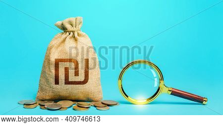 Israeli Shekel Money Bag And Magnifying Glass. Origin Of Capital Funds. Revising The Budget To Save