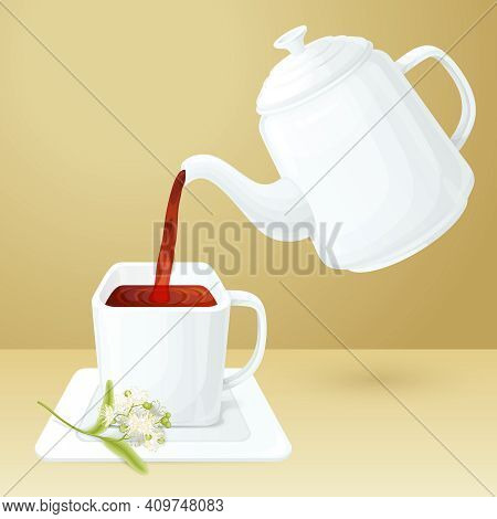 Porcelain Tea Cup And Pot With Linden Brunch Vector Illustration
