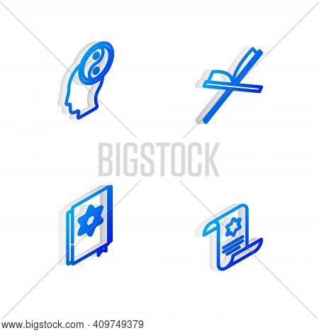 Set Isometric Line Holy Book Of Koran, Yin Yang, Jewish Torah And Torah Scroll Icon. Vector