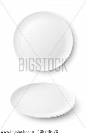 Vector 3d Realistic White Food Empty And Blank Porcelain Ceramic Plate Icon Set Closeup Isolated On