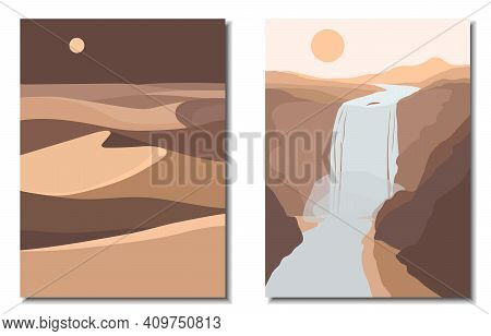 Abstract Contemporary Aesthetic Backgrounds Landscapes Set With Desert, Sand Dunes, Mountains, Moon,