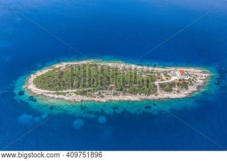 Aerial Drone Shot Of Host Island In Adriatic Sea Near Town Port Of Vis Island In Croatia Summer