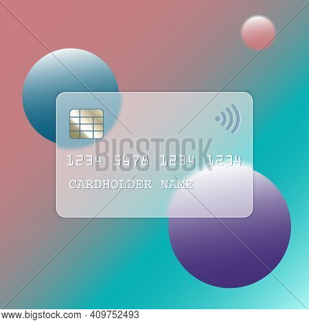 Transparent Plastic Bank Card Design Template In Trendy Style Glassmorphism Or Frosted Glass. Glass