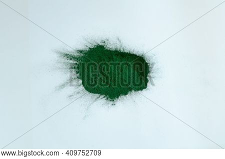 Spirulina Powder Isolated On White Background. View From Above