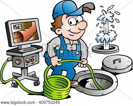 Vector Cartoon Illustration Of A Happy Sewer Master Handyman