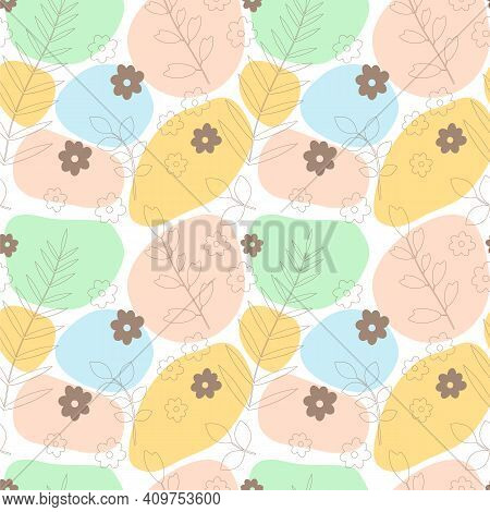 Vector Seamless Pattern Consisting Of Multi-colored Spots And Linear Leaves And Flowers. Colored Spo