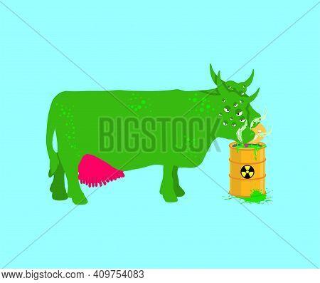 Radioactive Cow Eats Toxic Waste From Barrel. Toxic Farm Animals. Vector Illustration