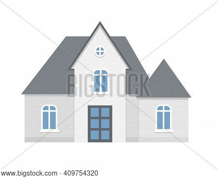 Grey Cottage Facade, City Or Country Street Building With White Windows. Modern Residential Private