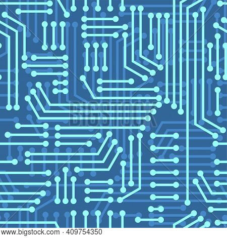 Electric Circuitry Pattern Seamless. Microcircuit Background. Circuit Board Texture