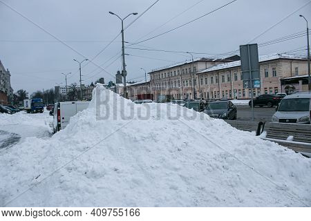 Winter. Heavy Snowfalls. There Are Huge Snowdrifts In The Cities.