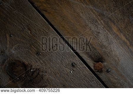 Old Scratch Wood Wall Texture Background. Old Scratched Wooden Oak Board With Cracks, Vintage Backgr