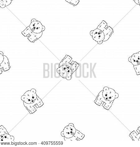 Vector Seamless Pattern Of Cute Cartoon Little Kid Polar Bear Cubs, They Stands On All Legs And Smil