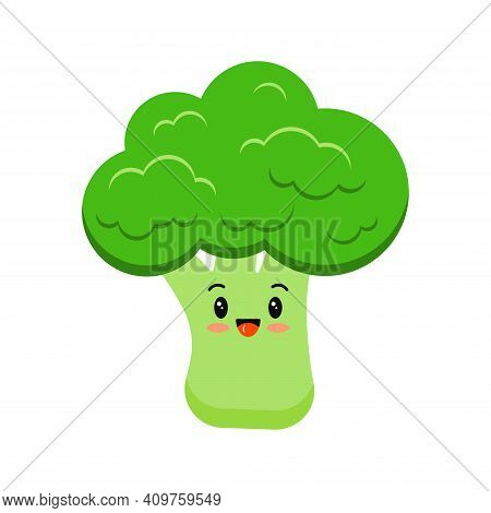 Cute Broccoli Happy Cartoon Vegetable Kids Icon Isolated On White Background. Healthy Smile Broccoli