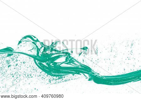 Beautiful Fast-flowing Liquid Background With Bubbles (isolated Mockup)