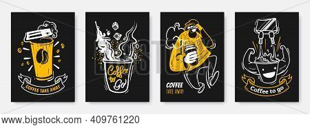 Coffee To Go Illustration Collection In Hand Drawn Style. Coffee Take Away Creative Posters Design.