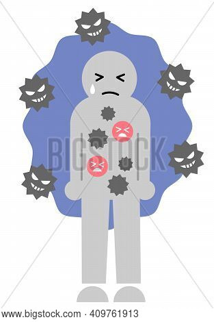 Weak Immune System Have Risk Of Infection. Cute Human Icon Illustration. Health Care Infection Preve