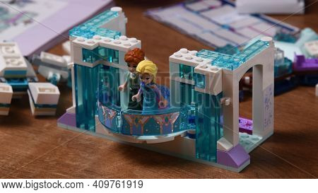 White And Blue Tiny Plastic Toy Lego Dolls And Construction Blocks Of Frozen Disney Cartoon. Toy Ann