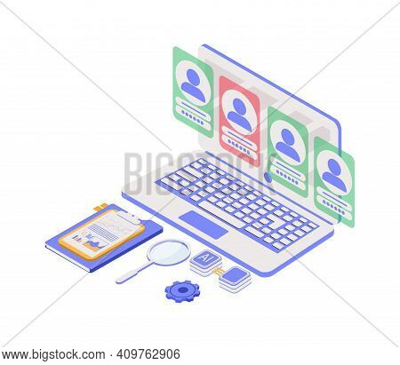 Business Hr Concept In Isometric Vector Illustration. Human Resources Manager Hiring Employee Or Wor