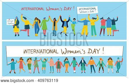 International Women's Day.diverse International And Interracial Group Of Standing Women. For Girls P