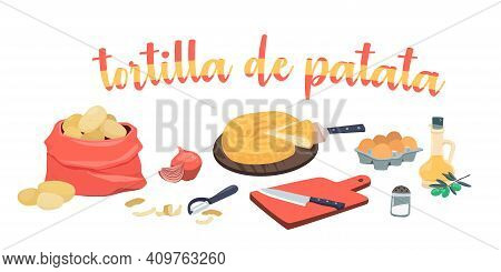 Spanish Potato Omelette Ingredients - Tortilla De Patata. Olive Oil, Onions, Potatoes, Eggs, Cutting