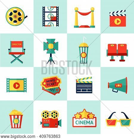 Cinema Filmmaking Icons Set With Film Equipment And Movie Production Isolated Vector Illustration