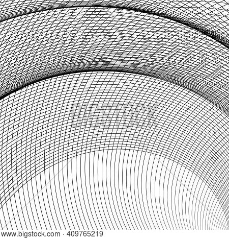 Black And White Intersecting Lines, Twisted Mesh Element Isolated On White