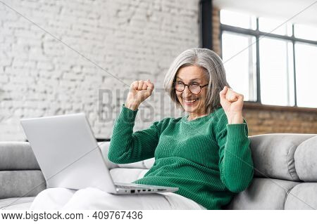 Victory Concept. The Cheerful Senior Woman Looks At The Laptop Screen And Feels Overjoyed, Win In Lo