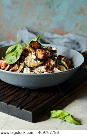 Baked Eggplant With Tomatoes, Onion And Feta Cheese. Vegetable Side Dish. Mediterranean Dish. Ratato