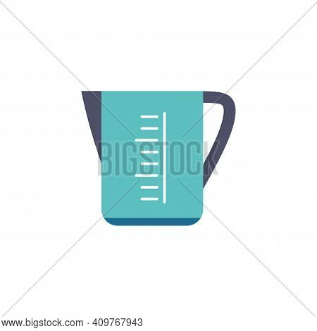 Measuring Cup Flat Icon Logo Isolated On White Background, Beaker For Kitchen, Laundry, Flat Design,
