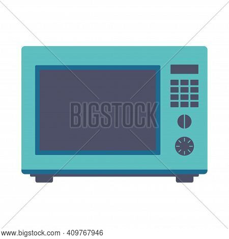 Microwave Isolated On White Background, Flat Vector Illustration Of Modern Microwave, Simple Design