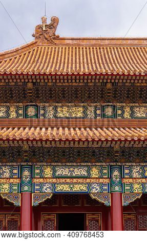 Beijing, China - April 27, 2010: Forbidden City. Closeup Of Colorful Red And Golden Architectural Ro