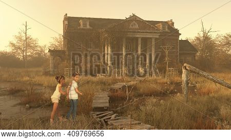 Playing Adventure Children, Boy And Girl Exploring An Old Spooky Mansion, 3d Render.