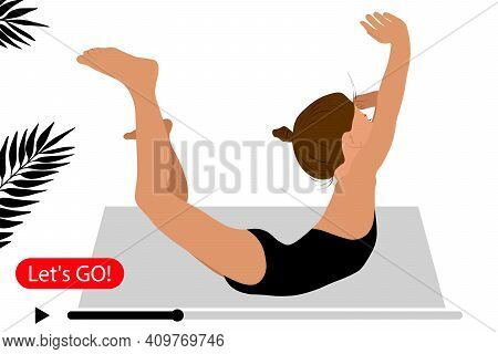 Home Sport. Yoga Home. Online Training. Young Girl Gymnast Exercise Sport Athlete. Training Performa