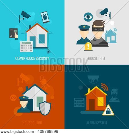 Home Security Flat Icons Set With Clever House Thief Guard Alarm System Isolated Vector Illustration