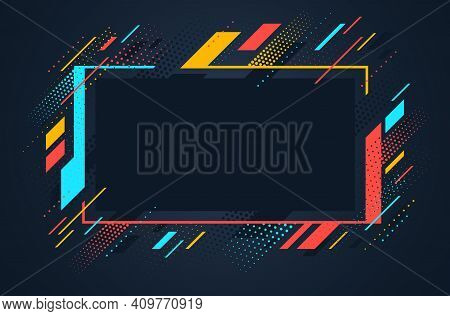 Artistic Colorful Frame With Different Elements Over Dark, Vector Abstract Background Art Style Brig
