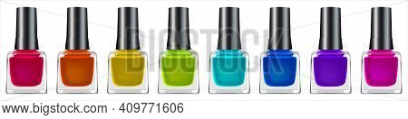Group Of Bright Nail Polishes Isolated On White. Set Of Nail Polish: Pink, Red, Orange, Yellow, Gree
