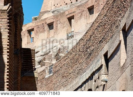 May 17, 2017 - Rome, Italy: Interior View Of The Famous Roman Colosseum With Closeup Of Windows And