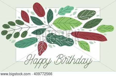 Greeting Card With Fresh Green Leaves Vector Flat Drawing, Floral Design Composition Mockup Layout,