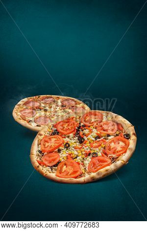 Floating, Smoking Pizzas On A Turquoise Background