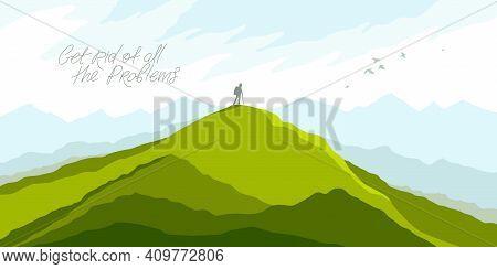 Beautiful Scenic Nature Landscape With Traveler Pilgrim Vector Illustration Summer Or Spring Season